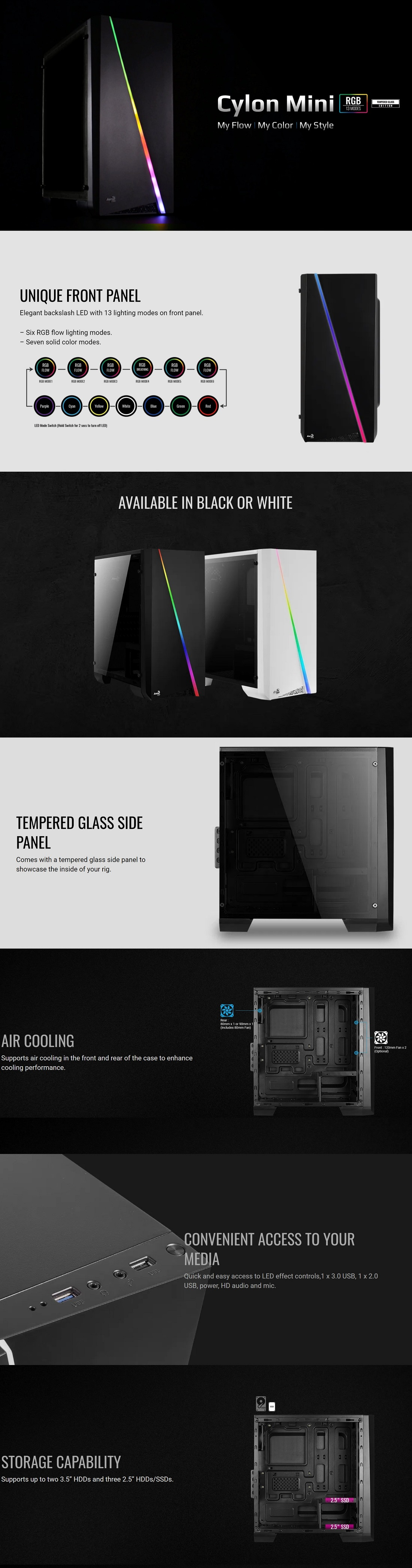 Aerocool Cylon RGB Mini Tower PC Case With Tempered Glass Panel 13 Lighting Modes