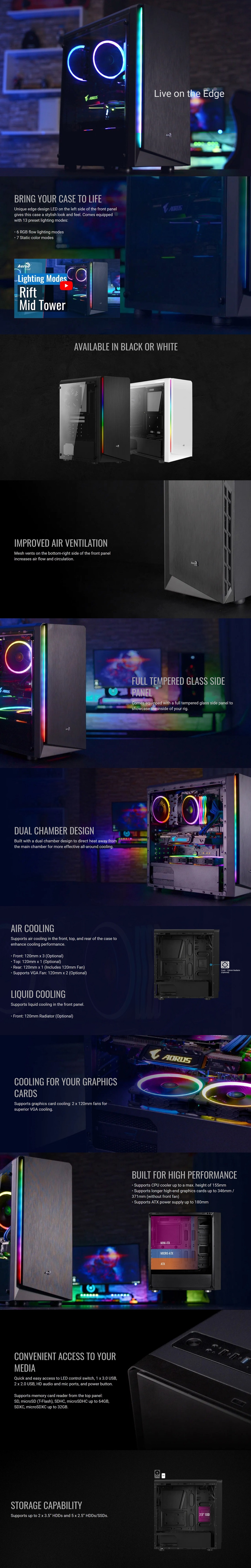 Aerocool RIFT Mid Tower Case Stylish Edge Design RGB LED  Full Tempered Glass
