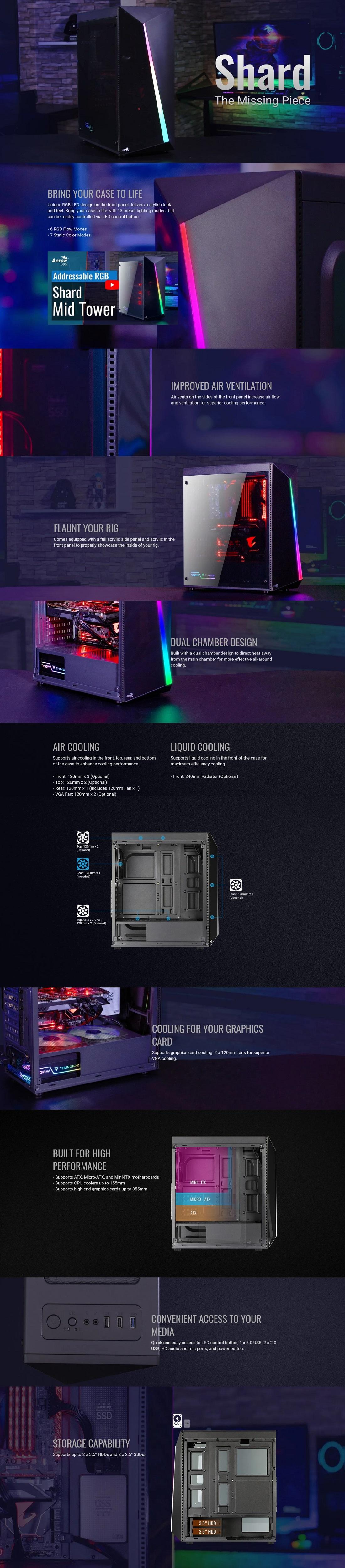 Aerocool Shard RGB Mid Tower PC Case Stylish Acrylic Panel 13 Lighting Modes