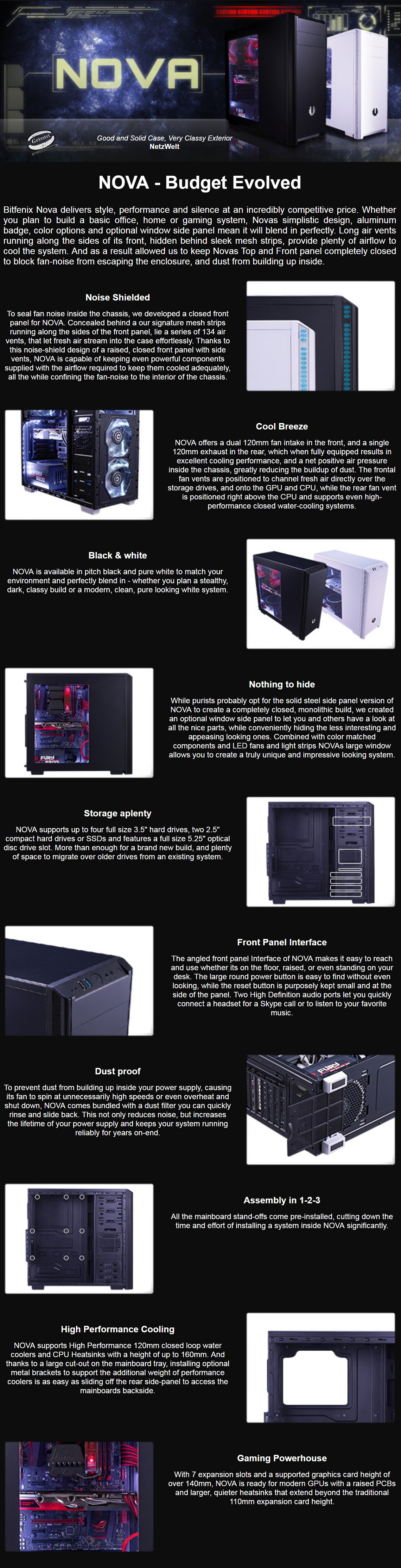 Details about Bitfenix Nova Window Mid Tower Chassis Case ATX/Micro  ATX/Mini-ITX Support Black
