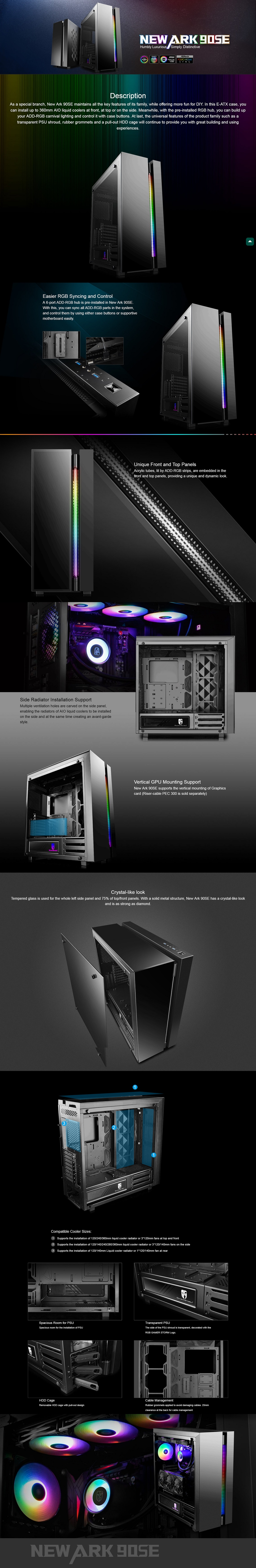 Deepcool Gamerstorm NEW ARK 90SE E-ATX PC Case with ADD-RGB Hub Tempered Glass