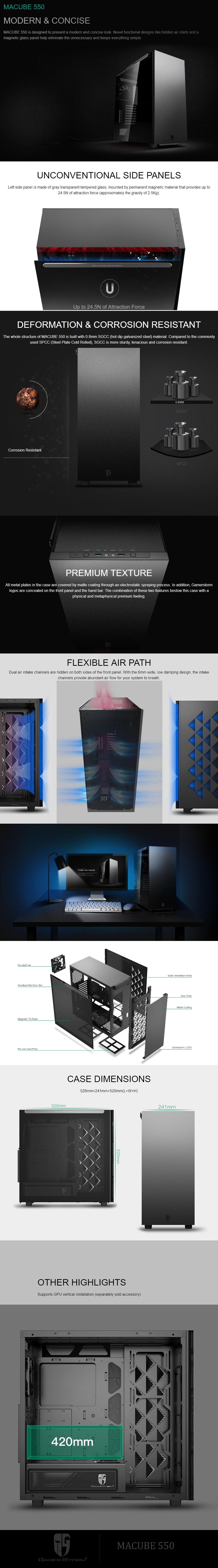 DeepCool Macube 550 Minimalist Full Tower Case Tempered Glass Side Panel Black