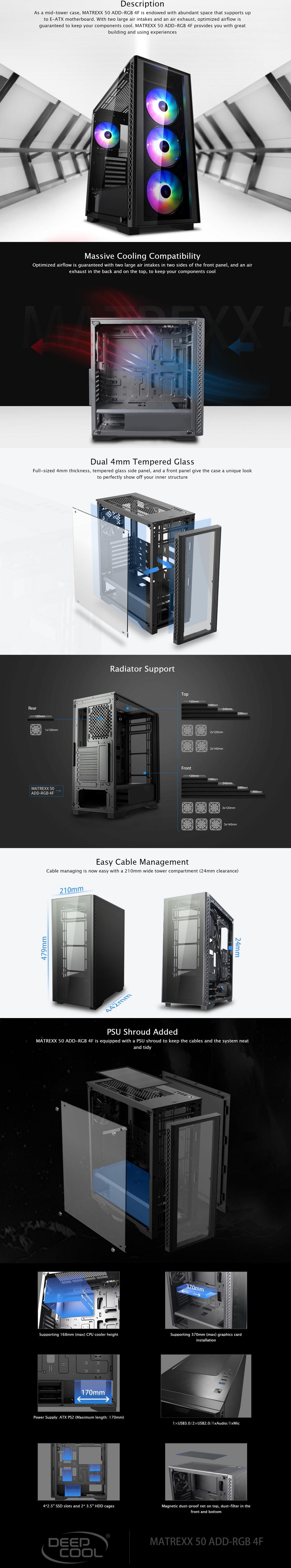 DeepCool Matrexx 50 ADD-RGB 4F Minimalistic Mid-Tower PC Case Tempered Glass