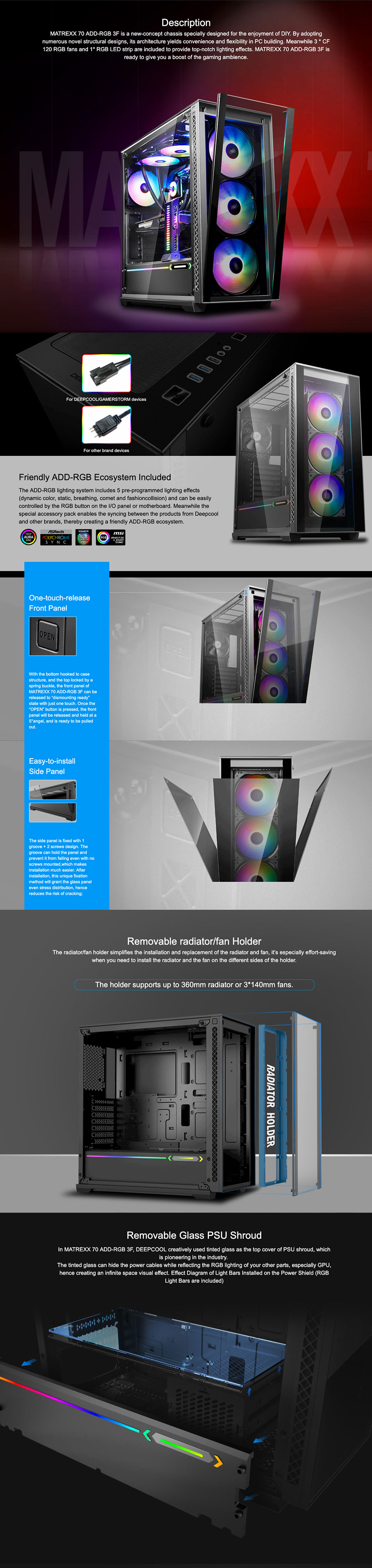 DeepCool Matrexx 70 ARGB 3F Tempered Glass PC Case with 3x Pre-installed RGB Fan