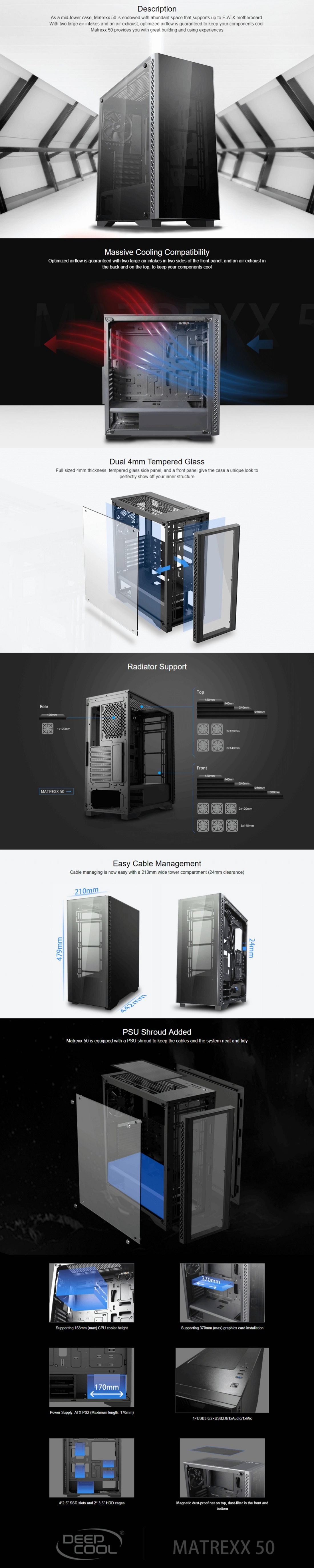 DeepCool Matrexx 50 Minimalistic Mid-Tower PC Case Full-sized Tempered Glass