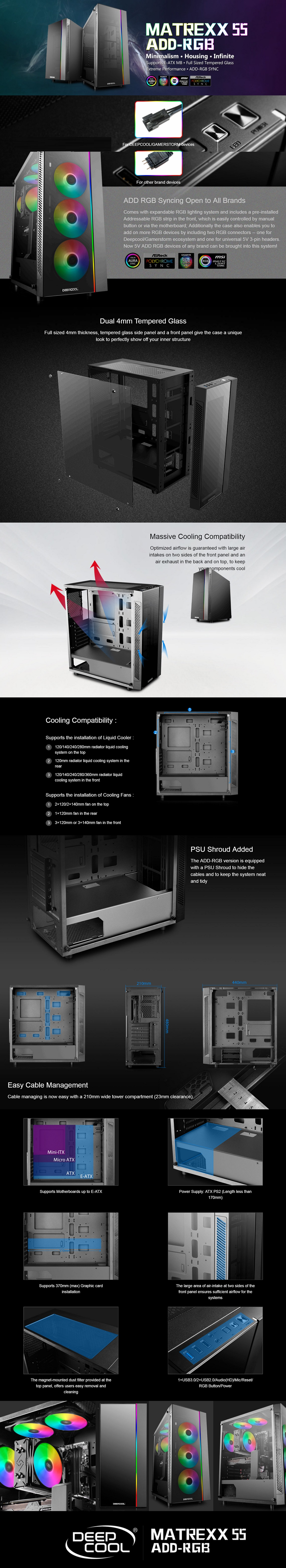 Deepcool MATREXX 55 ADD-RGB 3F Full Sized Tempered Glass Case with 3x RGB Fans