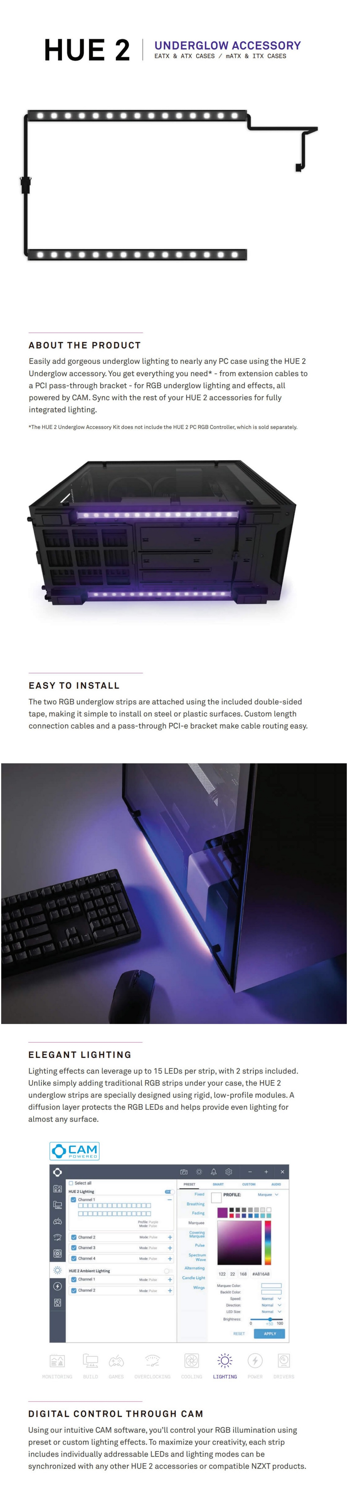 NZXT HUE Underglow 300mm Dual RGB LED Strips Immersive Desktop Lighting System