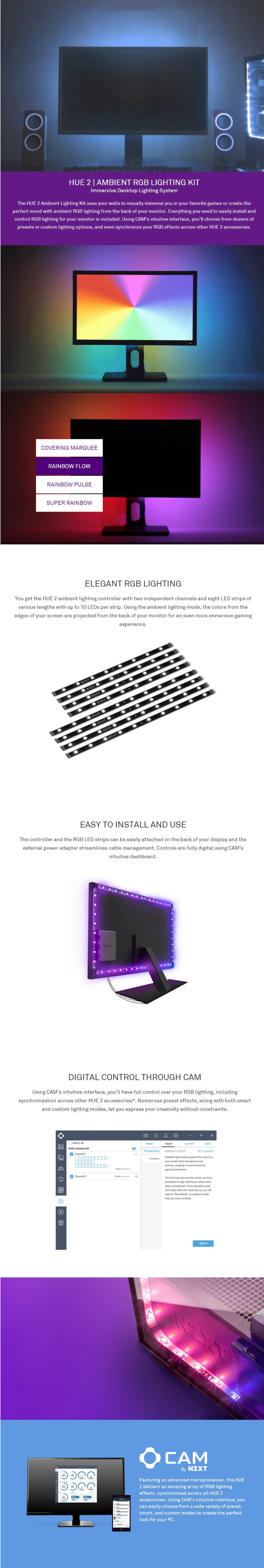 NZXT 21-26 Inch HUE 2 Ambient RGB Lighting Kit Designed for Monitors 21