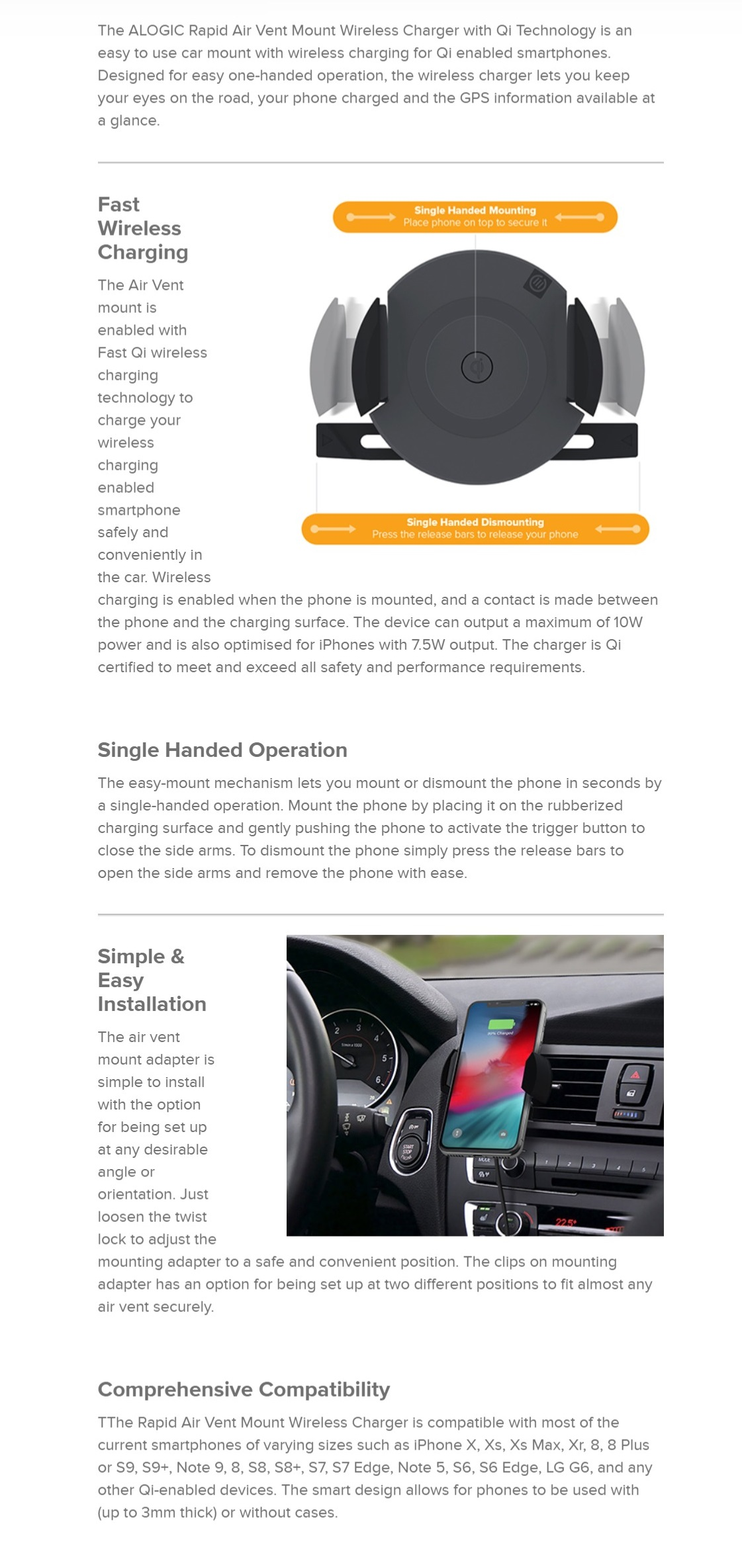 Alogic Rapid Air Vent Mount Wireless Charger Car Charger with Qi Technology