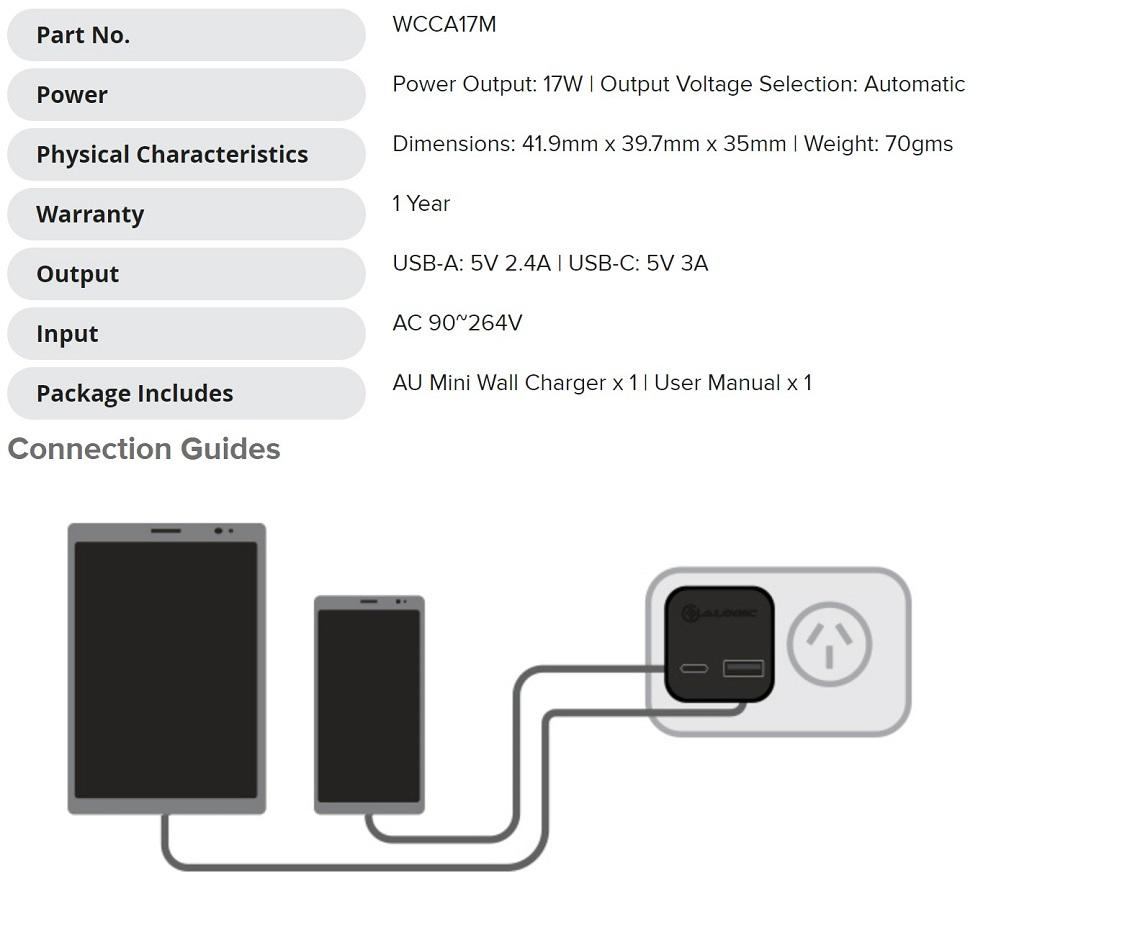 Alogic 2 Port Mini Wall Charger AU 5V 3A/2.4A 17W USB Type-C & Type-A Port Black