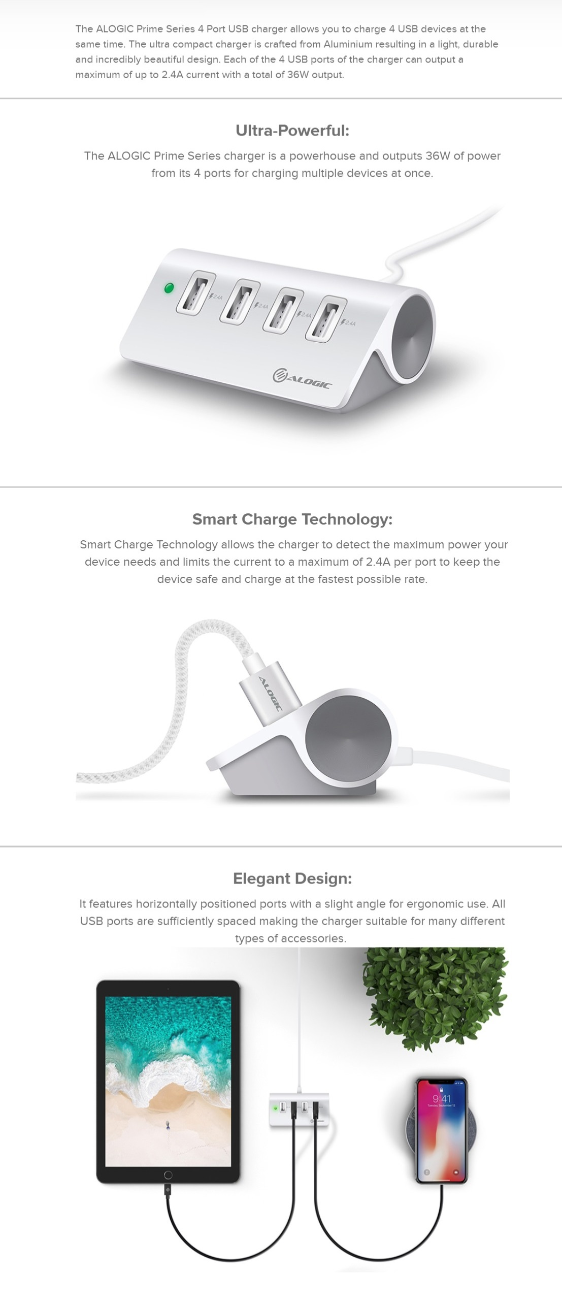 Alogic 4 Port USB Charger with Smart Charge - 4 x 2.4A Outputs - Prime Series