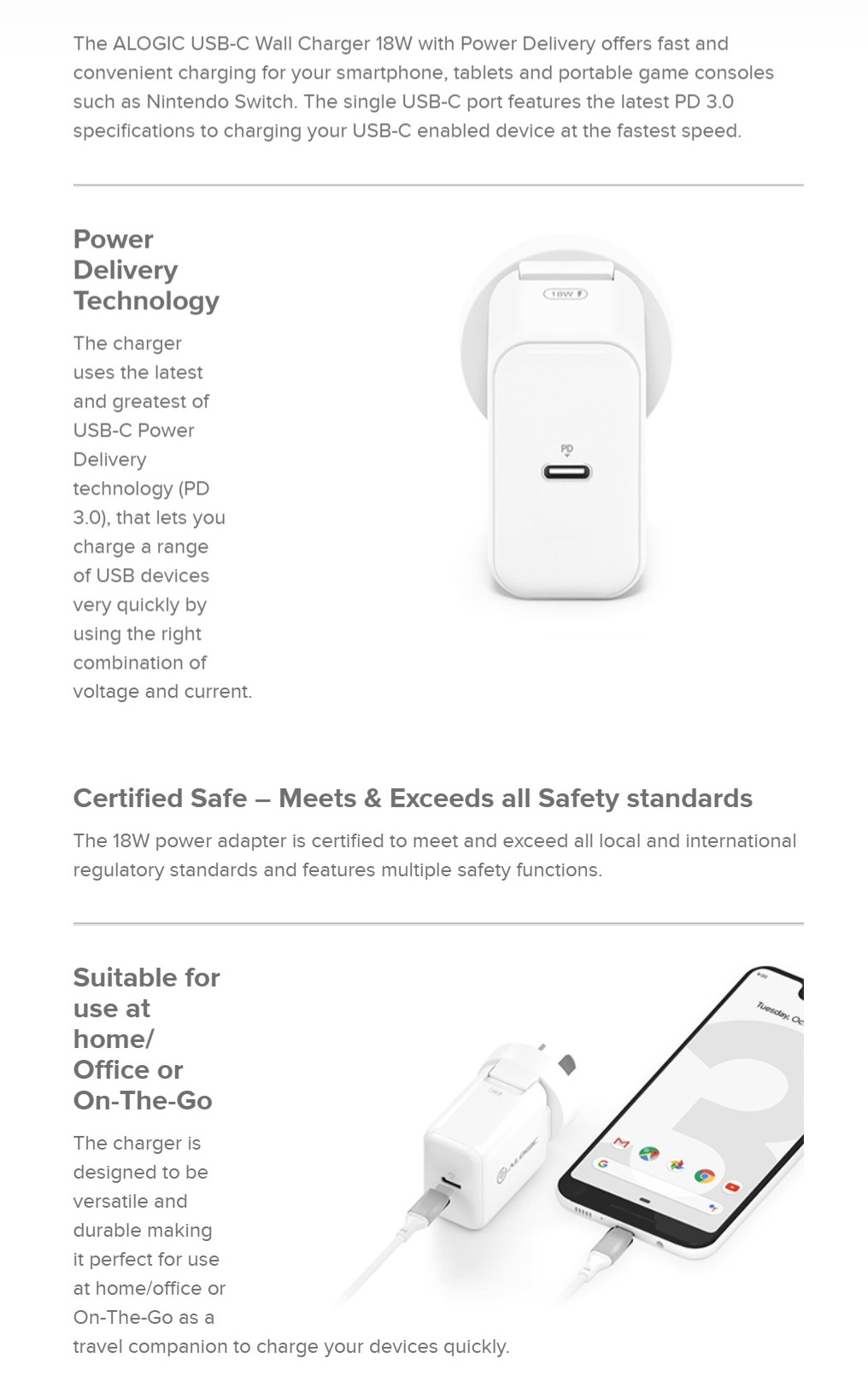 Alogic USB-C Wall Charger 18W with Power Delivery Certified Safety Standard White