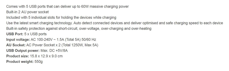 mbeat GorillaPower Dock 5-Port 60W USB Charging Dock with 2 AU Power Sockets