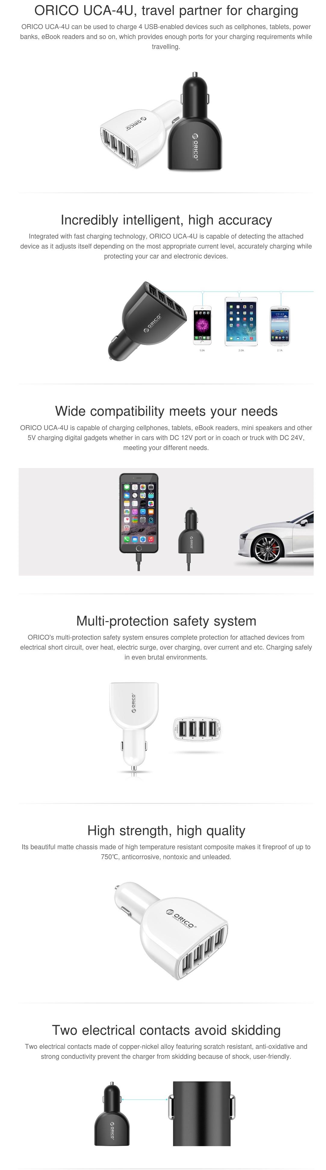 Orico Uca 4u 4 Port Usb Car Charger With Smart Super Black Large Ampamp 2