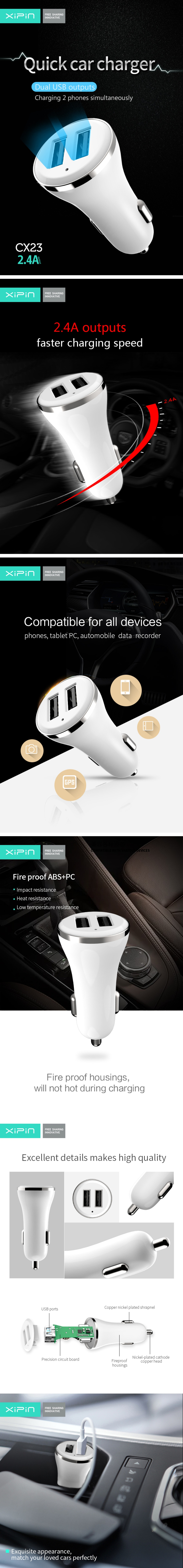 Xipin Quick Car Charger 5V 2.4A Dual USB Output Car Charger Mini Design White CX23