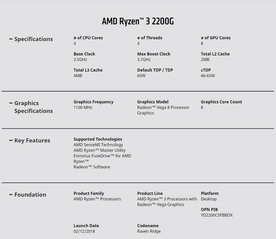 AMD Ryzen 3 2200G CPU 3.7 GHz AM4 with Vega RX Graphics Wraith Stealth Cooler