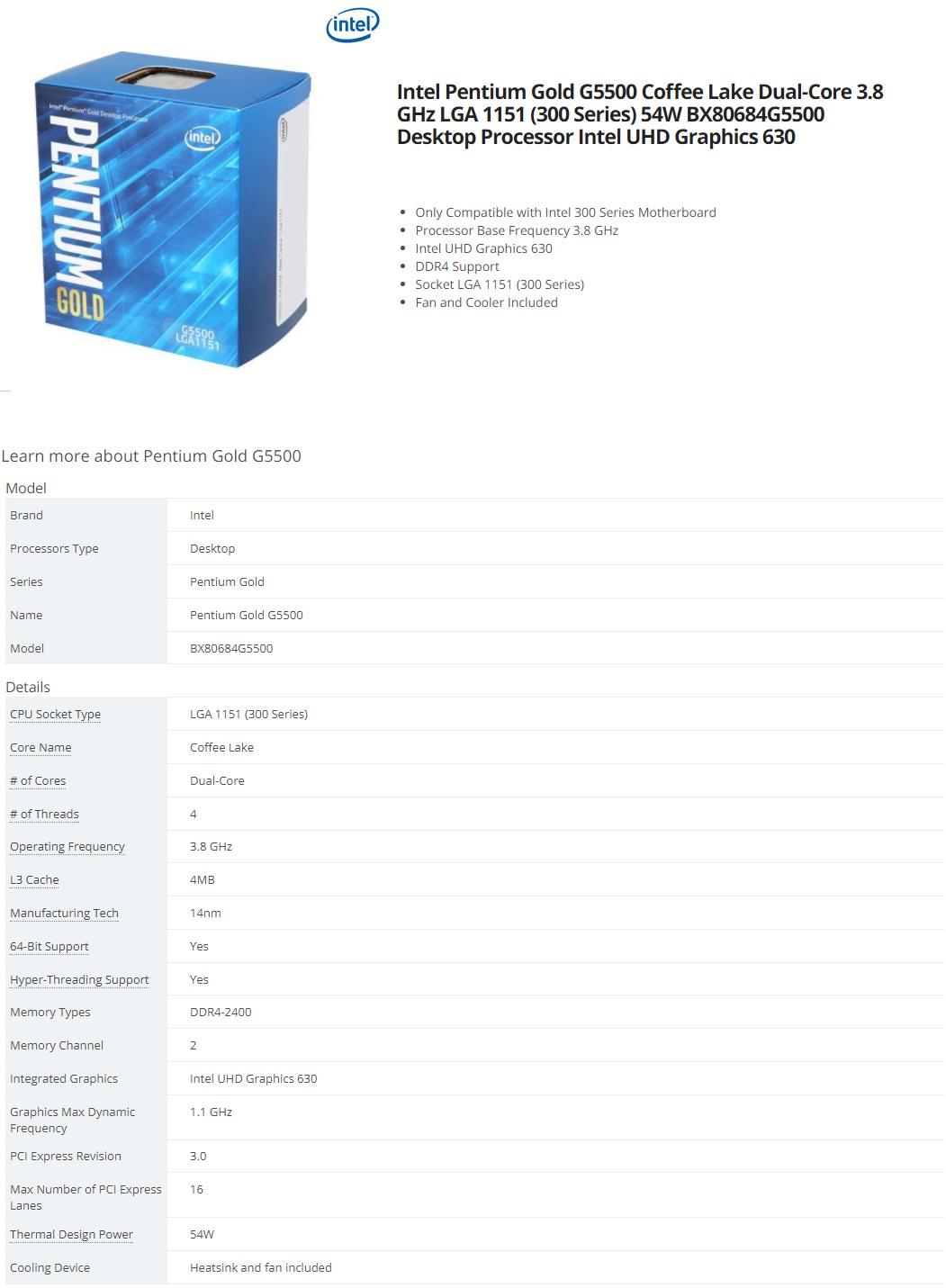 Intel Pentium Gold G5500 Coffee Lake Dual-Core 3.8 GHz LGA 1151 BX80684G5500