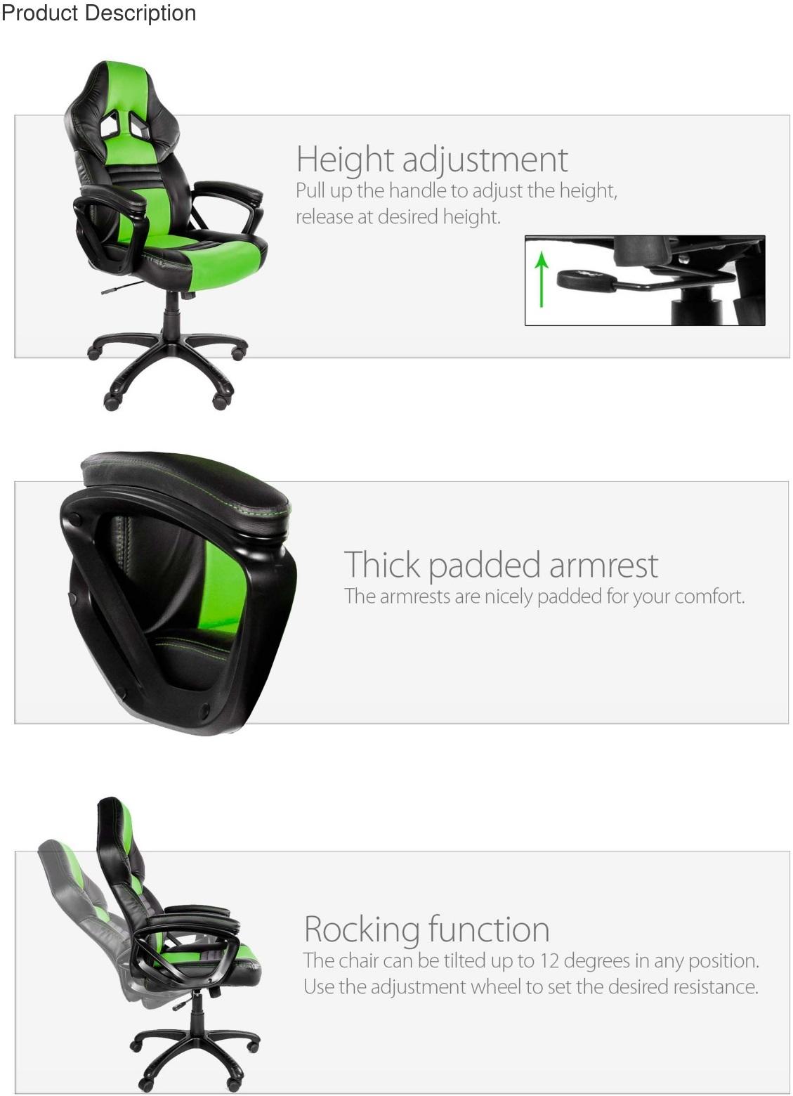 Arozzi Black & Green Monza Adjustable Ergonomic Motorsports Inspired Desk Chair