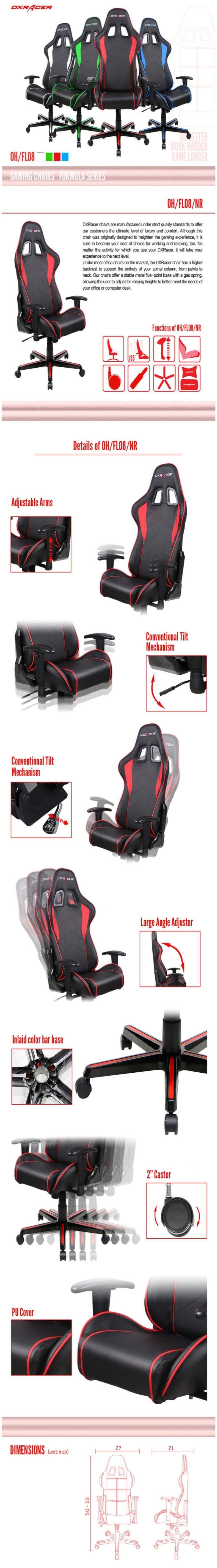 DXRacer Formula FL08 Black & Red Neck/Lumbar Gaming/Office/Ergonomic Chair