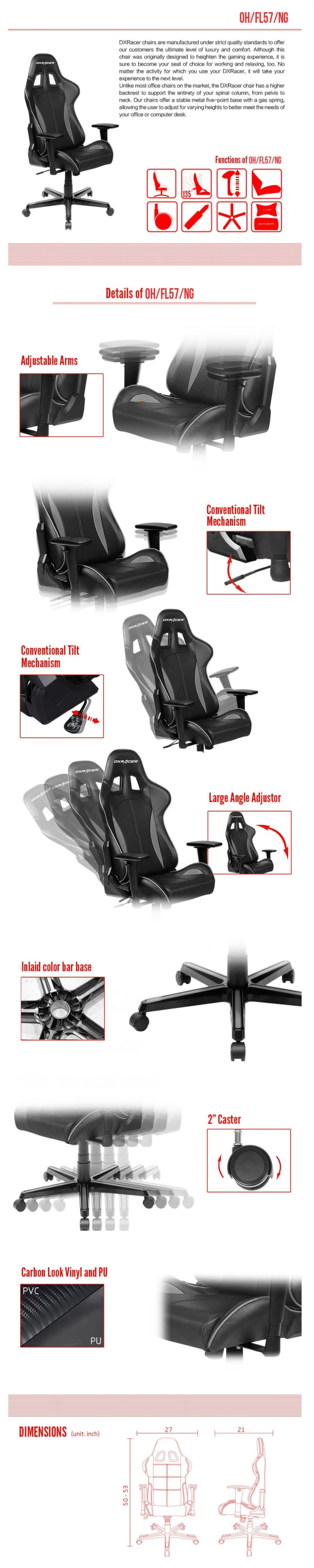 DXRacer Formula FL57 Black & Grey Neck/Lumbar Gaming/Office/Ergonomic Chair
