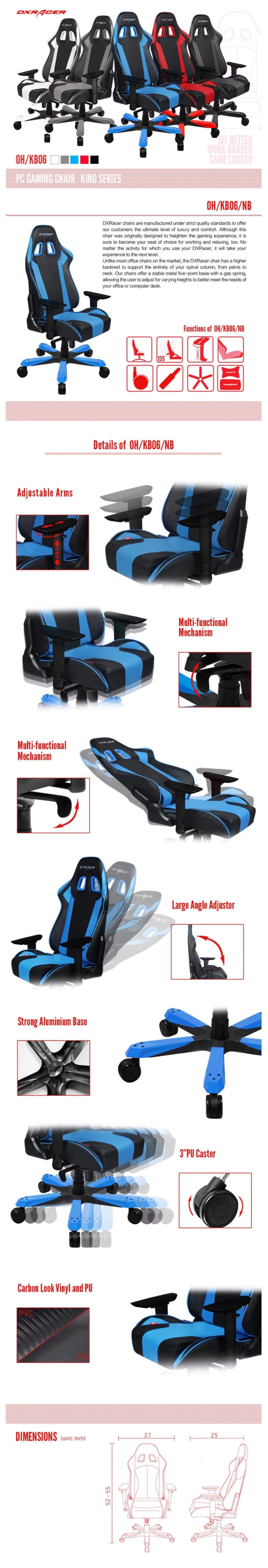 DXRacer King KS06 Black & Blue Neck/Lumbar Office/Gaming Ergonomic/Head Chair