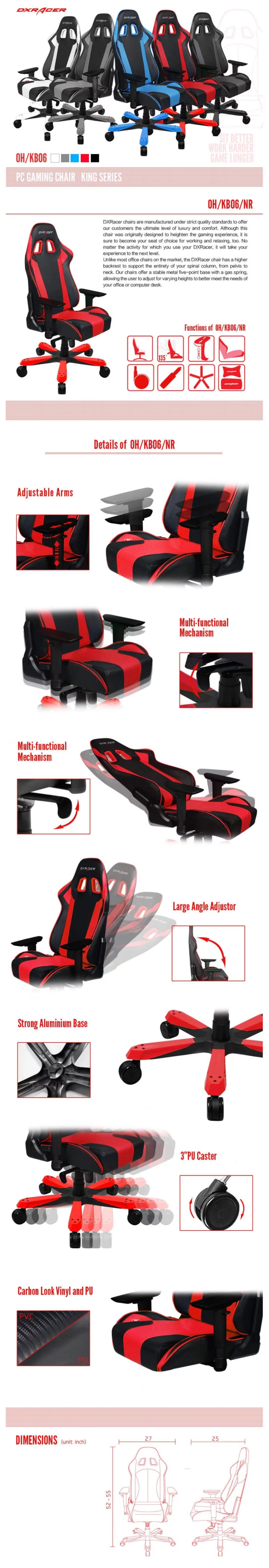 DXRacer King KS06 Black & Red Neck/Lumbar Office/Gaming Ergonomic/Head Chair