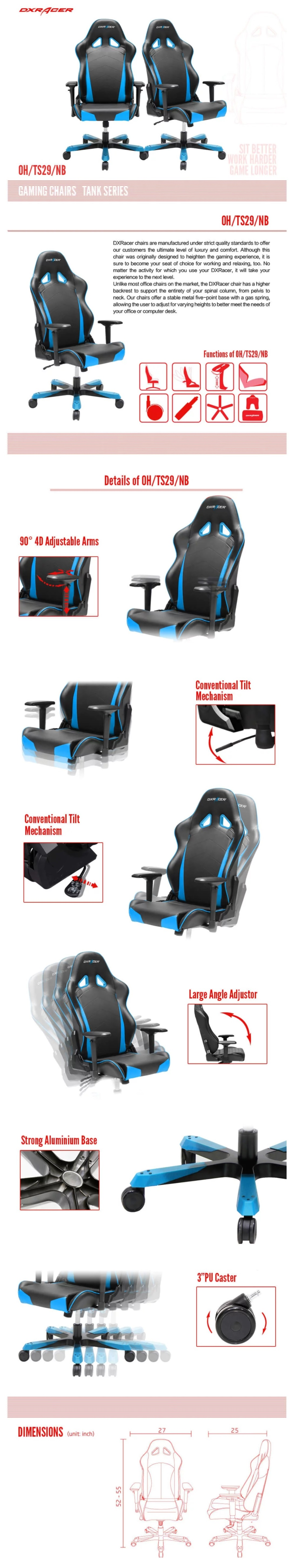 DXRacer Tank TS29 Black & Blue Sparco Neck/Lumbar Wide Seating Gaming/Office Chair