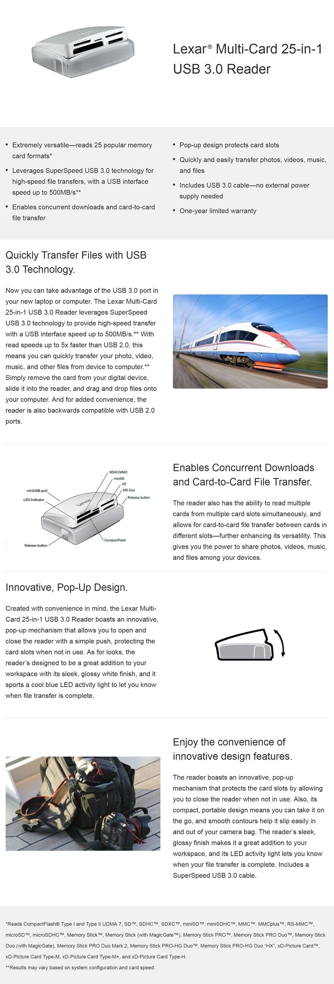 Lexar External 25-in-1 USB 3.0 Multi Card Reader - Fast Transfers 500MBs Read