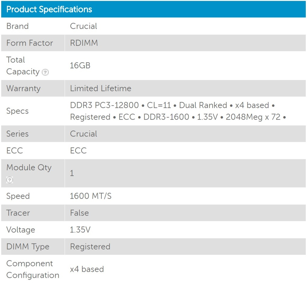 Crucial 16GB (1x16GB) DDR3 1600MHz ECC Registered RDIMM 1.35V Memory Ram