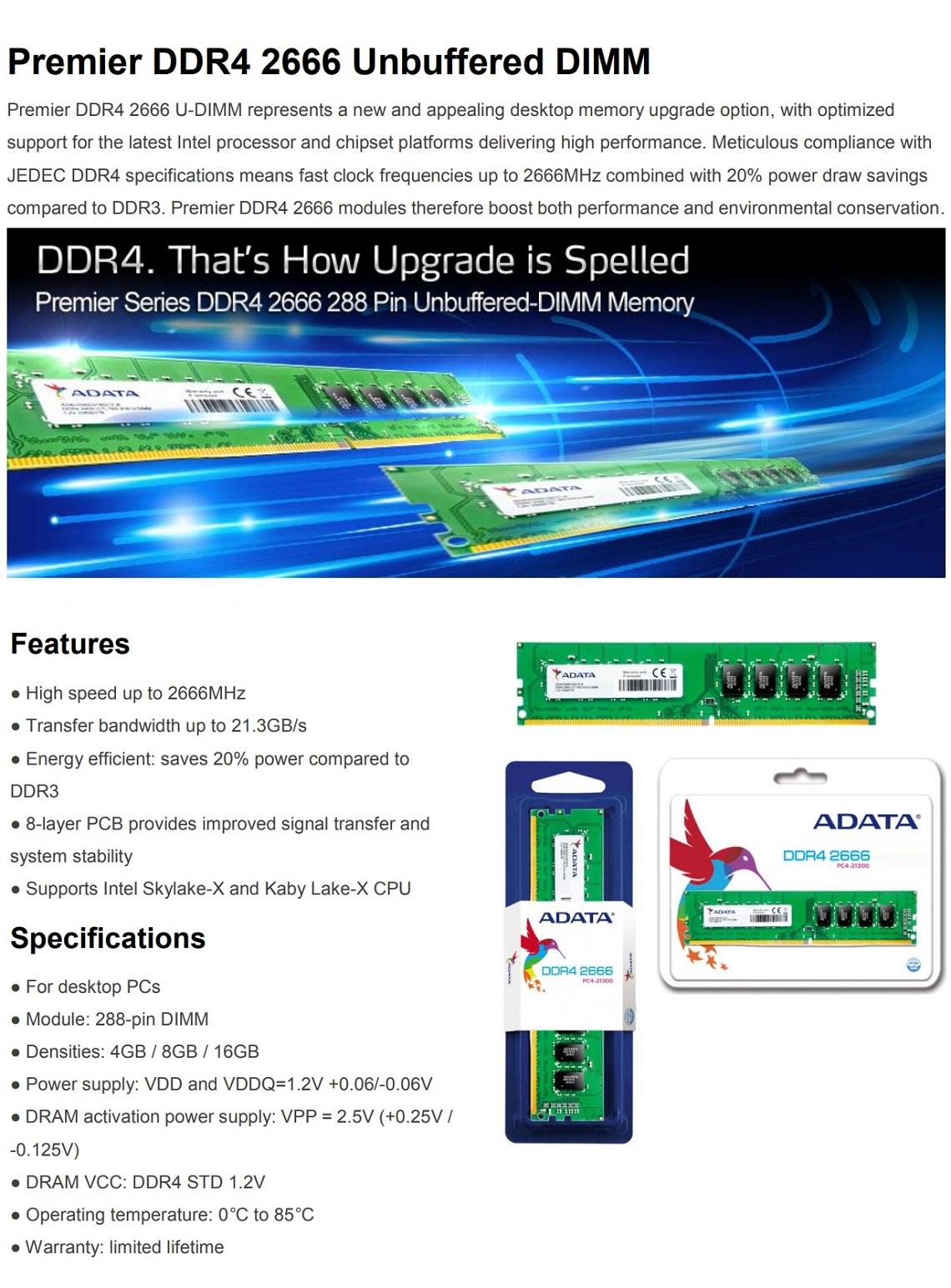 Adata Premier 8GB 2666MHz DDR4 288 Pin UDIMM Desktop Memory RAM AD4U266638G19-R