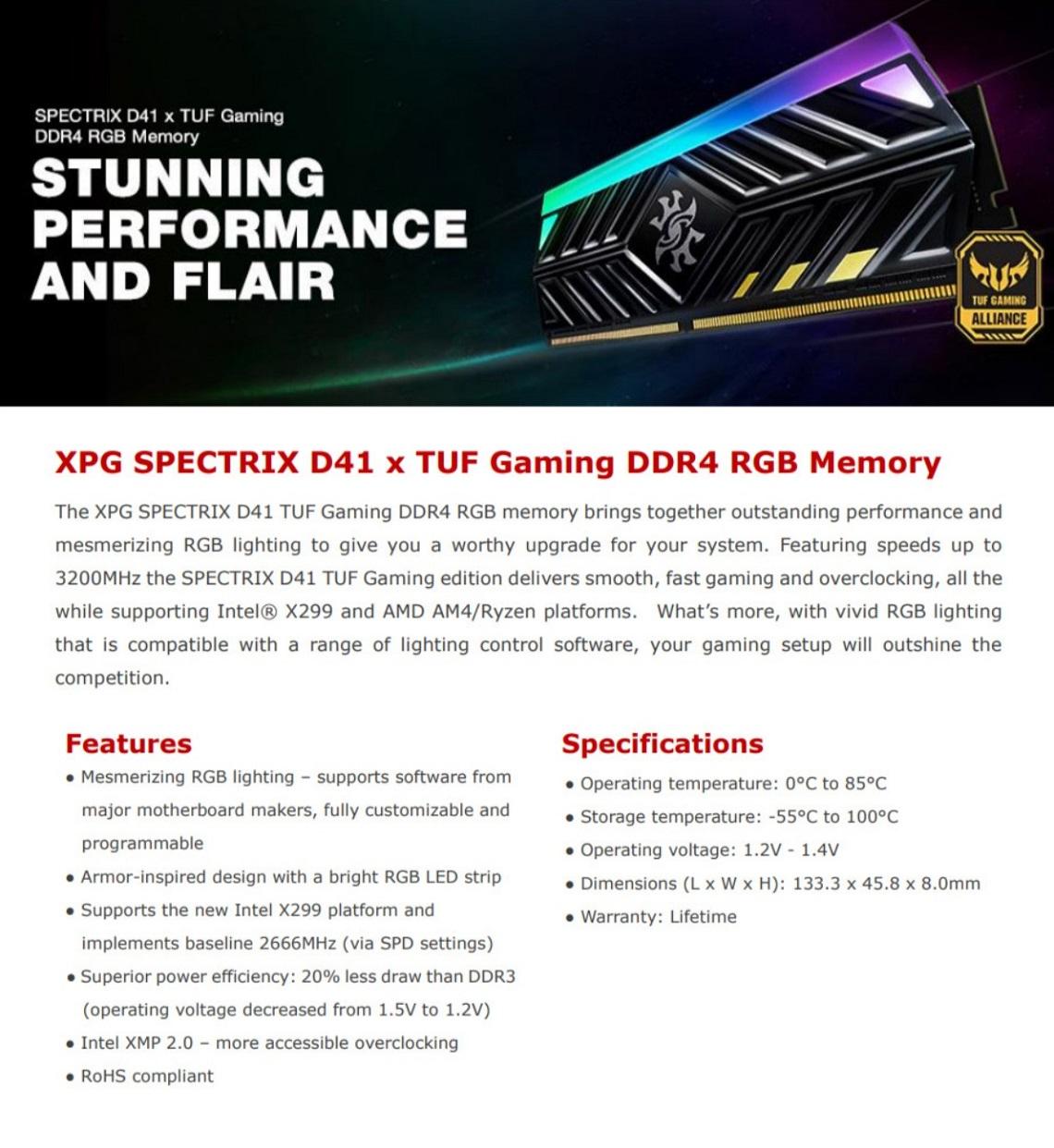 Adata 8GB 3000MHz RGB SPECTRIX D41 DDR4 Memory Module TUF Edition XMP 2.0 Black