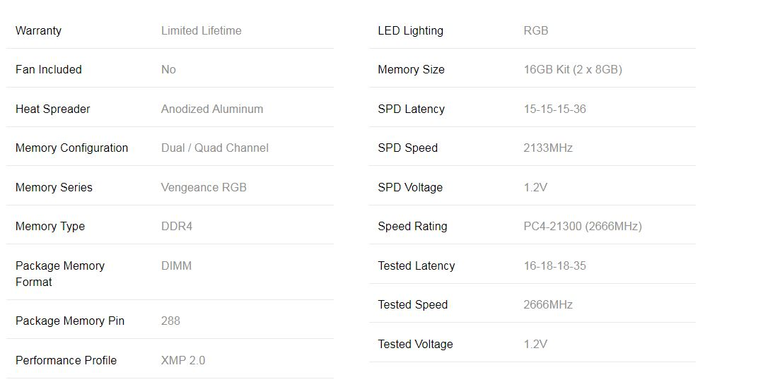 Corsair Vengeance RGB 16GB (2x8GB) DDR4 2666MHz C16 Desktop Gaming Memory