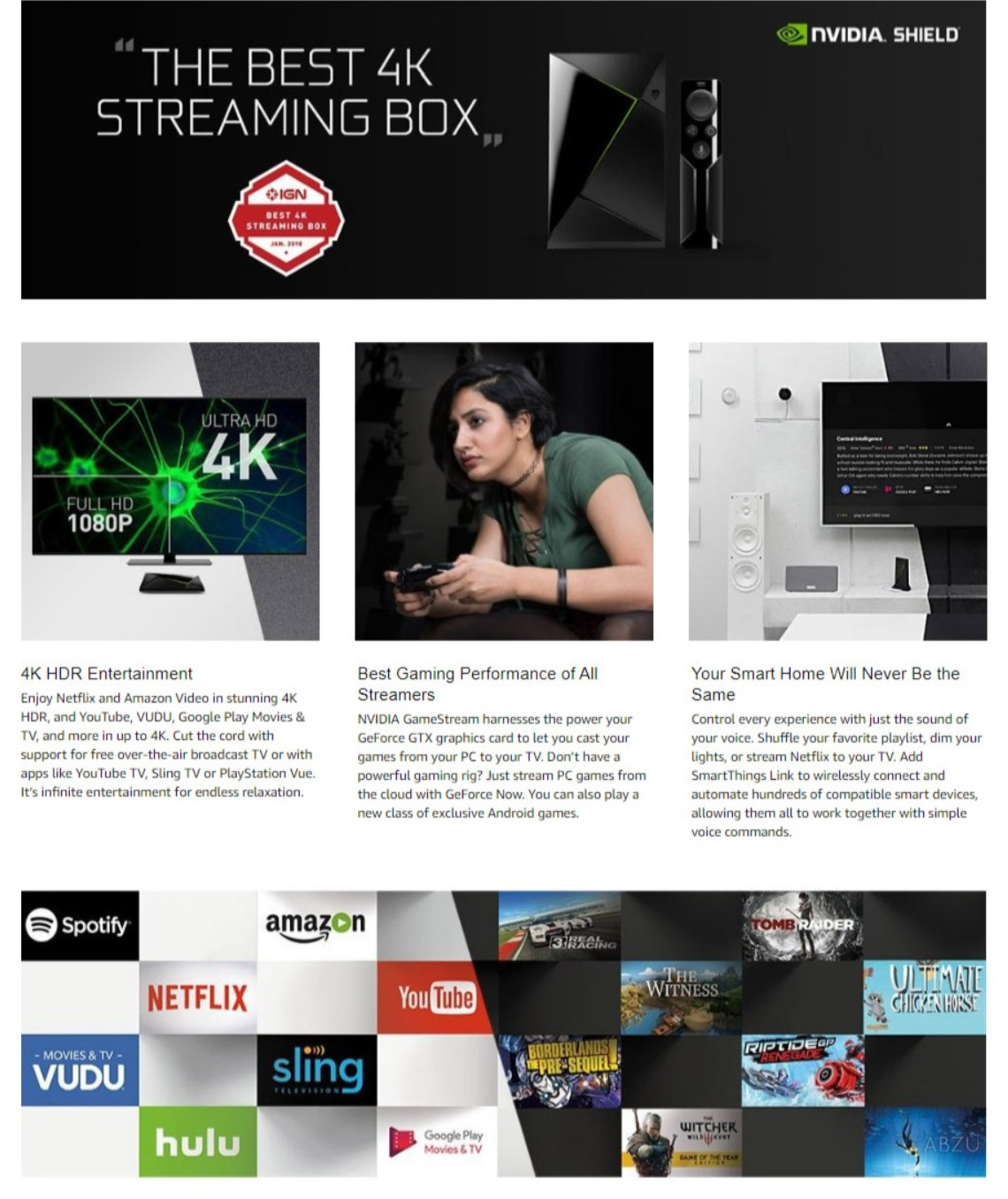 NVIDIA Shield TV Streaming Media Player with Remote 4K HDR Support 16GB  Storage