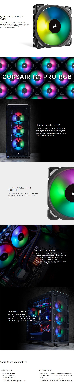 Corsair ML120 PRO RGB LED 120MM PWM Premium Magnetic Levitation Fan 3 Fan Pack