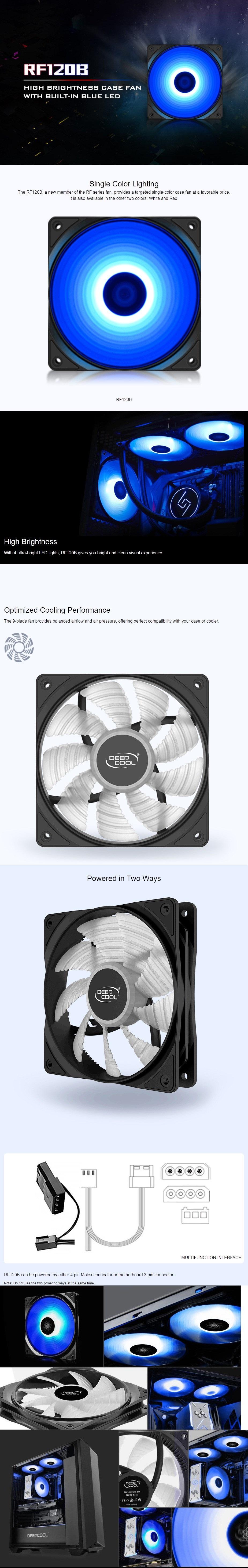 DeepCool RF120B High Brightness PC Case Fan With Built-in Blue LED 9-Blade Fan