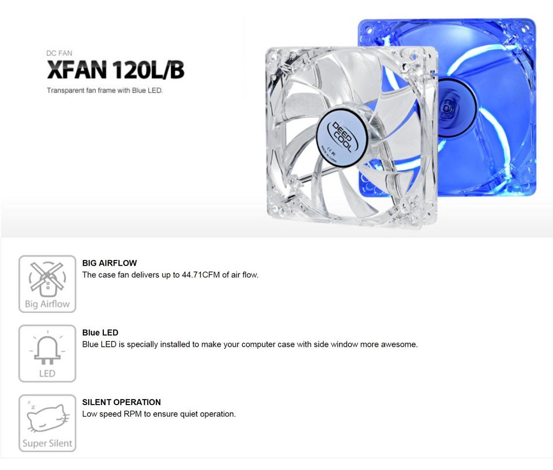 DeepCool PC Computer Case Fan 120mm x 25mm Transparent Frame with Blue LED