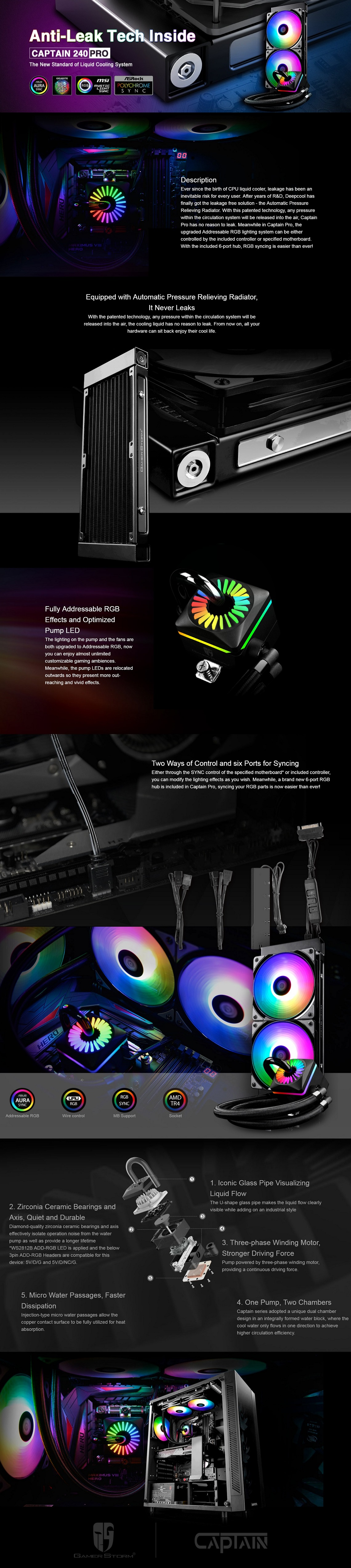 Deepcool Captain 240 PRO Addressable RGB AIO CPU Liquid Cooler for  AMD/Intel CPU