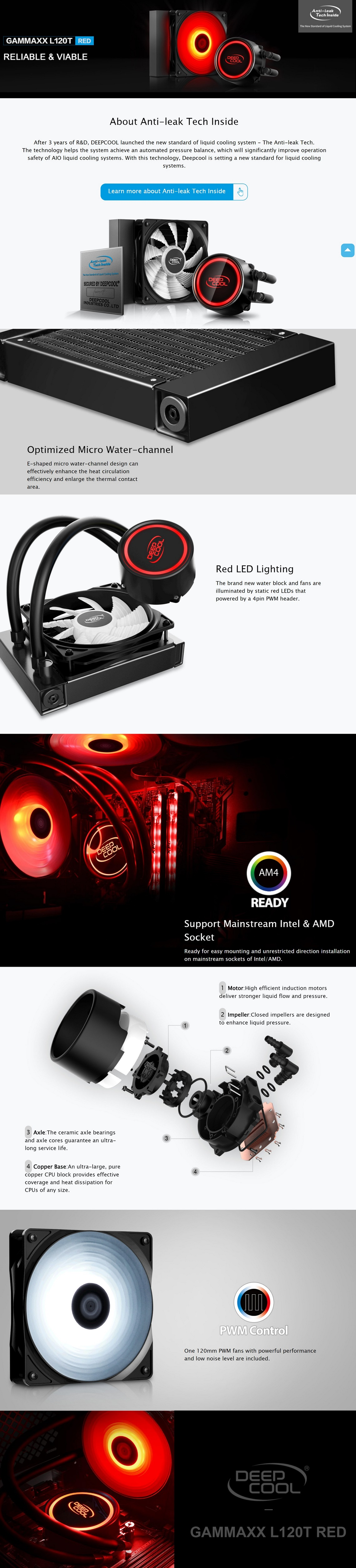 DeepCool Gammaxx L120T Red CPU Liquid/Water Cooler 120mm PWM Fan with Red LEDs