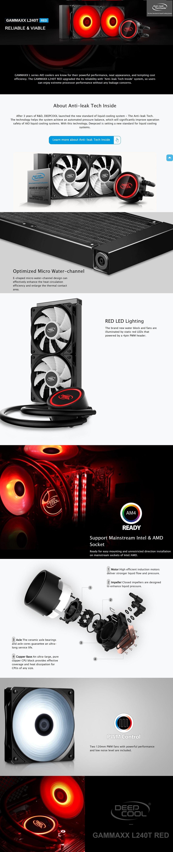 DeepCool Gammaxx L240T Red CPU Liquid/Water Cooler 2x 120mm PWM Fan Red LEDs