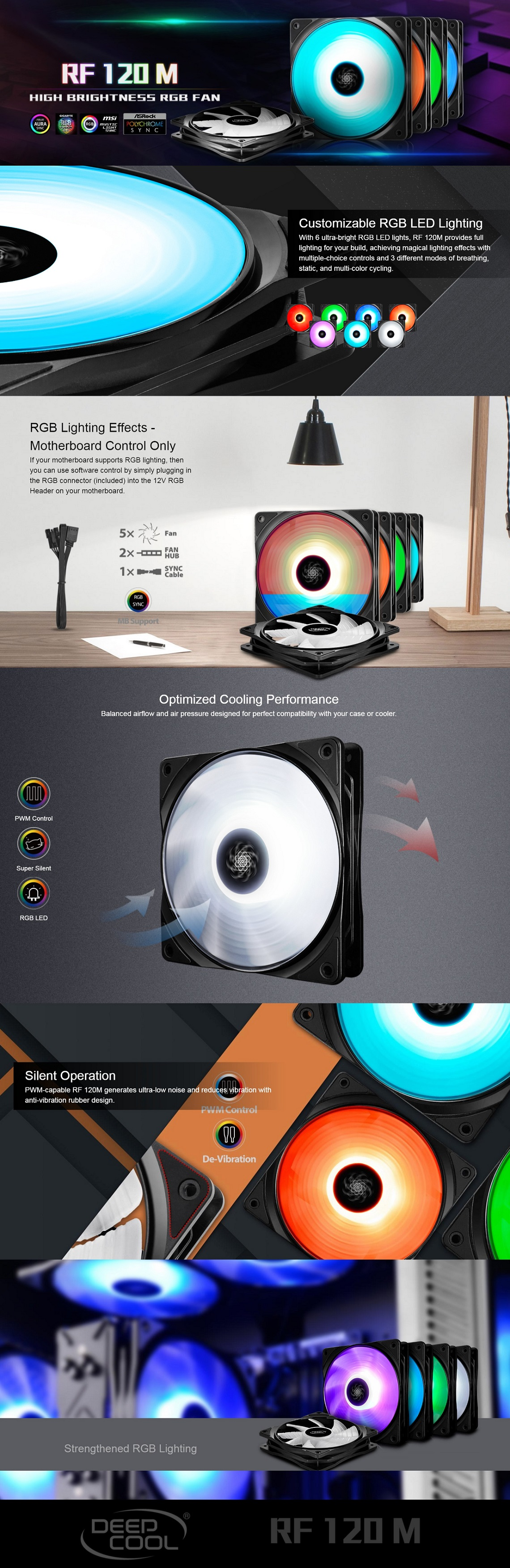 Deepcool RF 120M 120mm High Brightness RGB Fan - 5 Fans & 2 Fan Hubs, Sync Cable