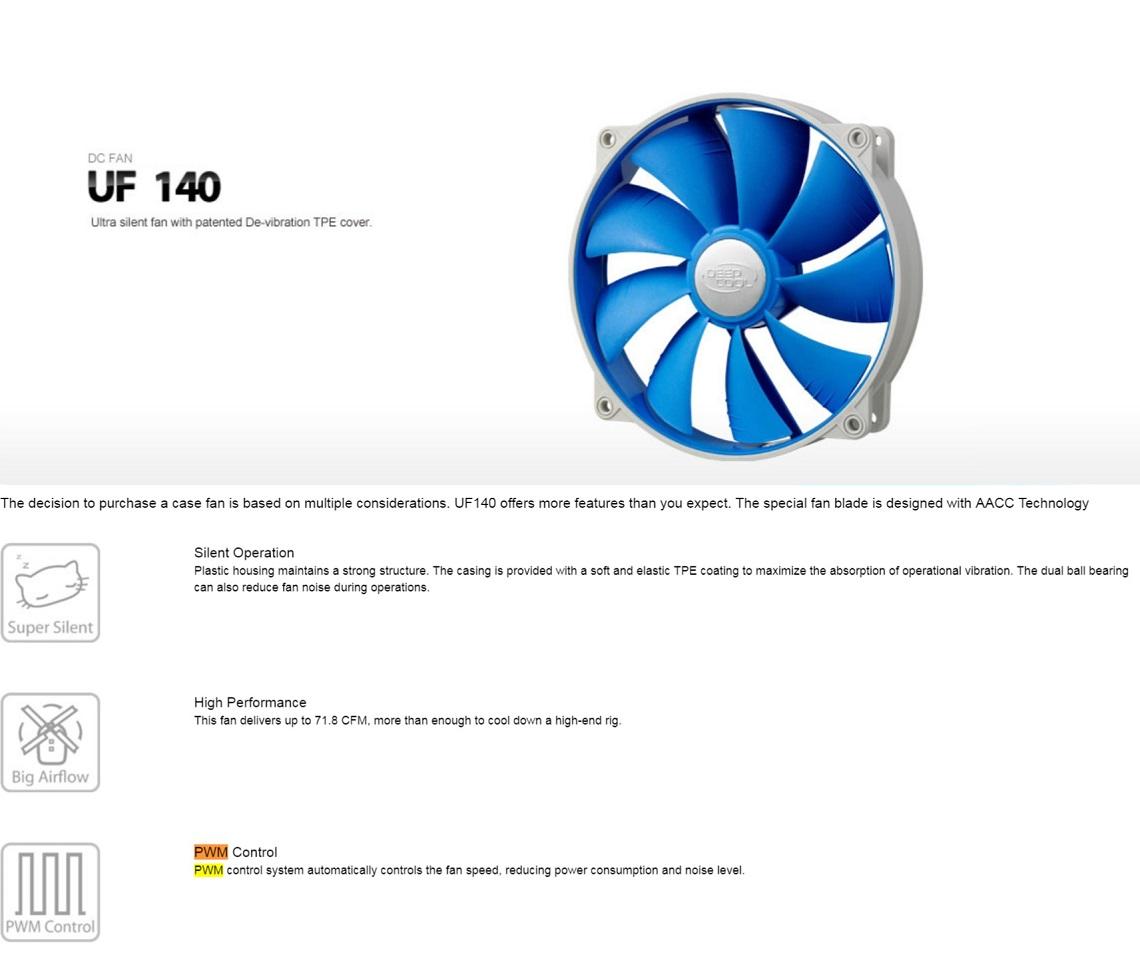 Deepcool UF140 Ultra Silent 140mm Ball Bearing Case Fan Anti-Vibration Frame PWM