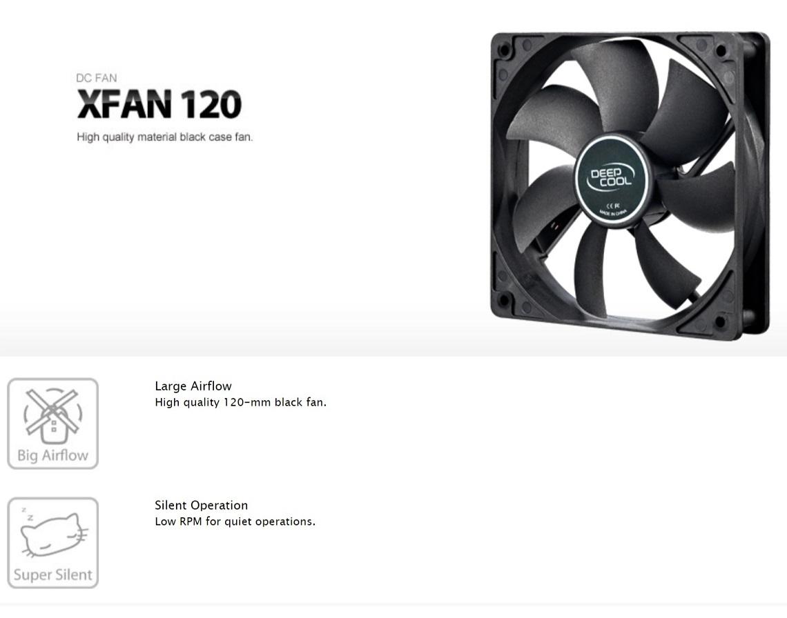 DeepCool XFAN120 120mm Hydro Bearing Case Fan 3 Pin / Molex Connector Case Fan