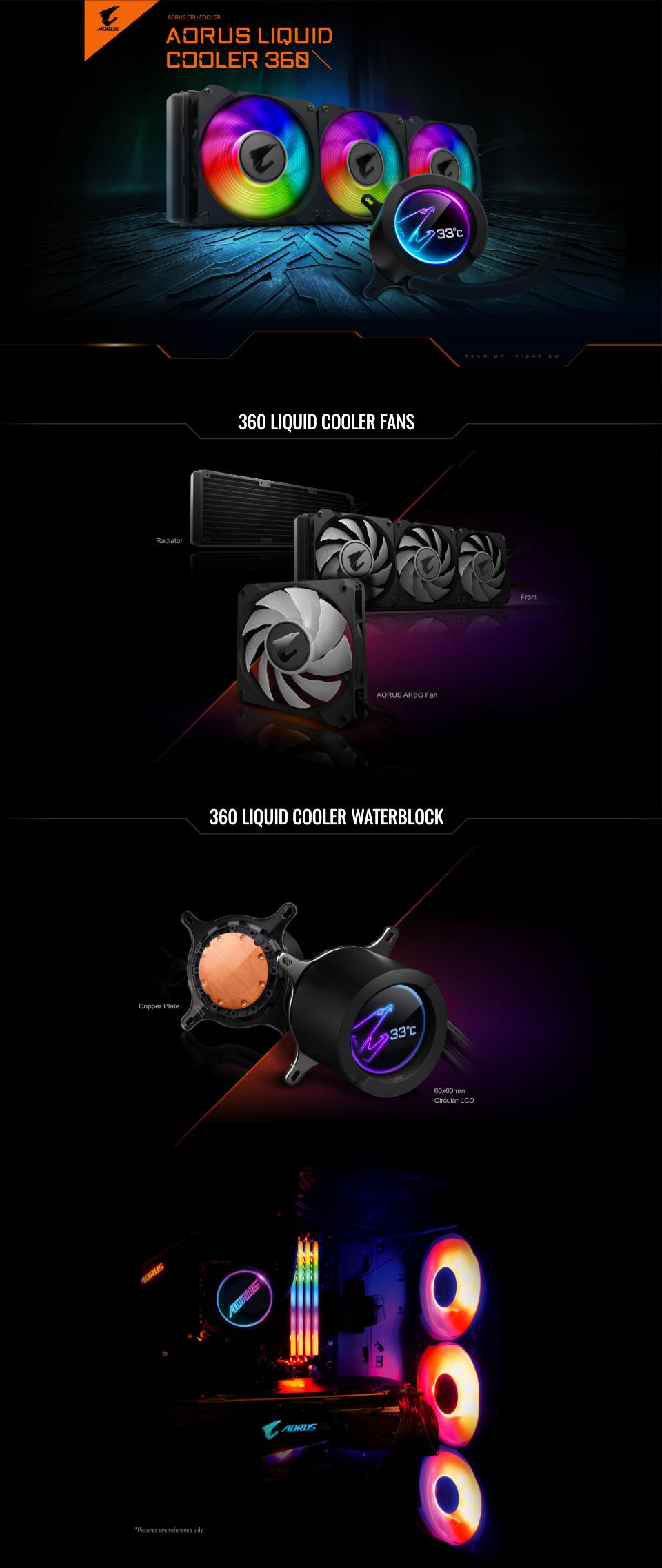 Gigabyte Aorus AIO Liquid Cooler 360 Triple 120mm ARGB Fan Circular LCD Display