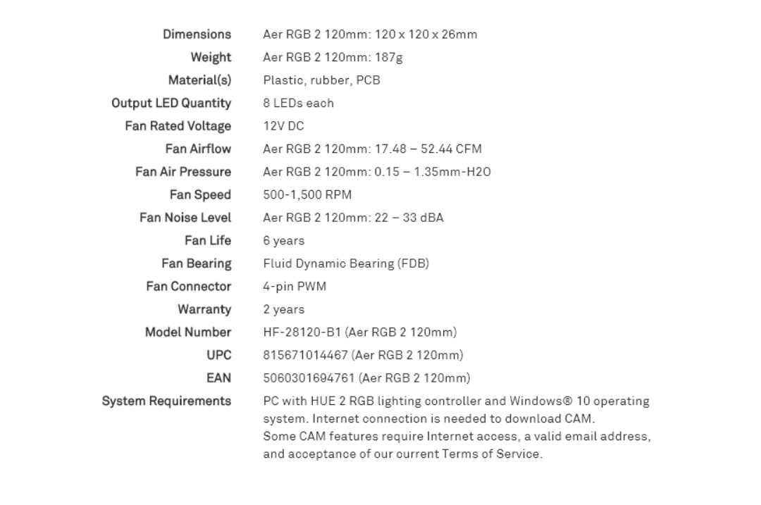 NZXT 120mm Aer RGB 2 PWM 1500RPM Fan Fluid Dynamic Bearing LED RGB PWM Fan