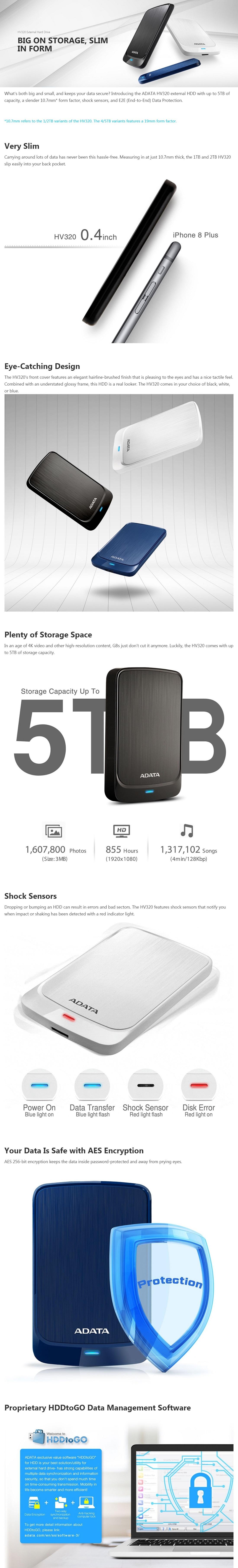 Adata HV320 1TB Slim External Hard Drive HDD Shock Protection USB 3.2 Gen1 White