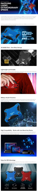Adata 240GB Ultra-Speed External Solid State Drive Shock Resistance USB3.1 Blue