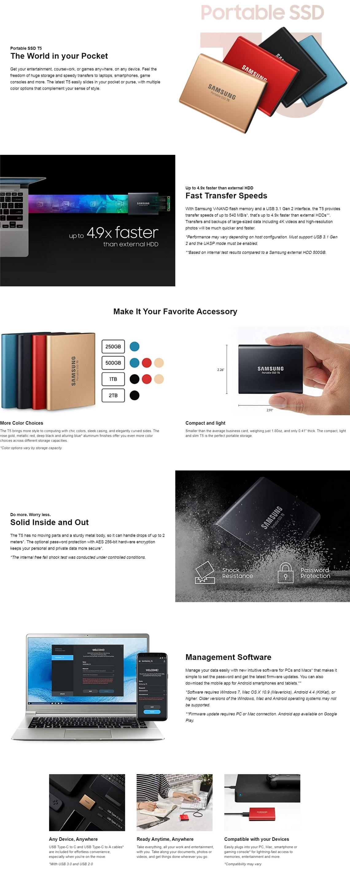 Samsung 500GB T5 Portable External SSD USB3.1 (Gen2) Type-C Shock Resistant Gold