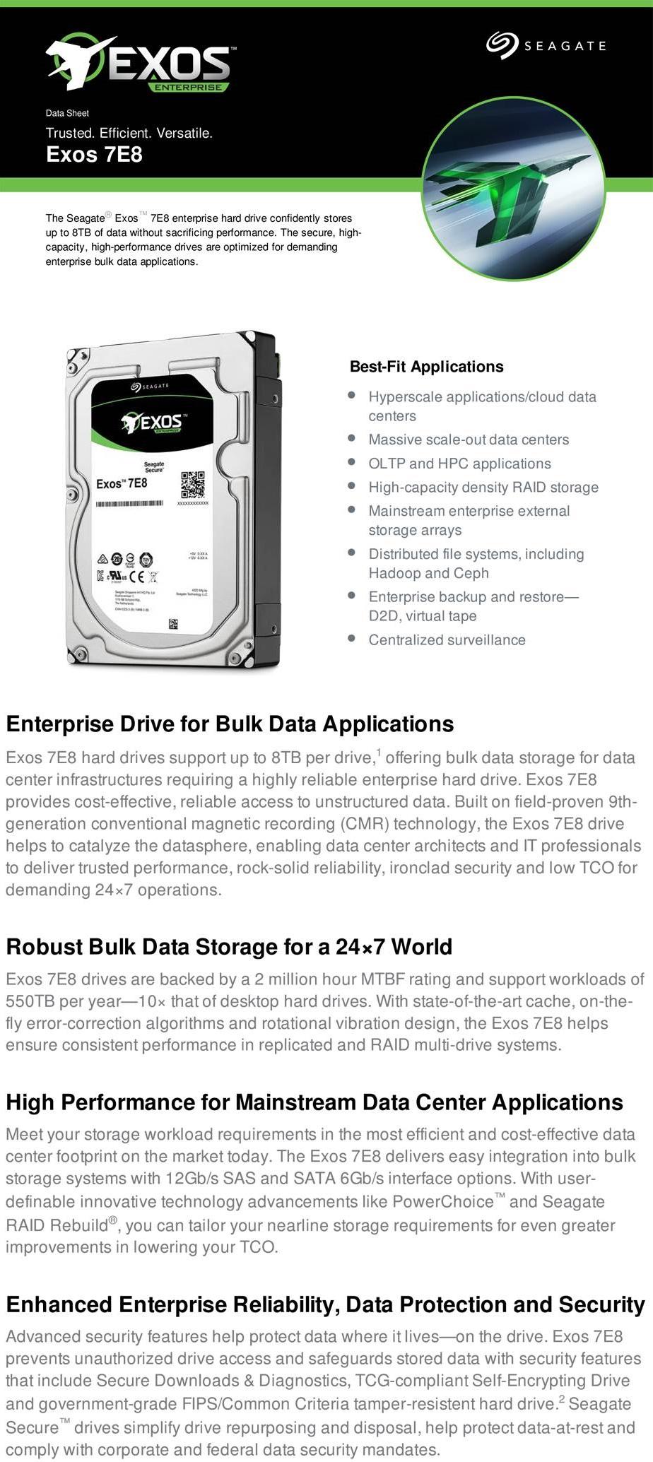 Seagate Enterprise Capacity 3.5 2TB SATA 6Gb/s 7200RPM Hard Drive ST2000NM0125