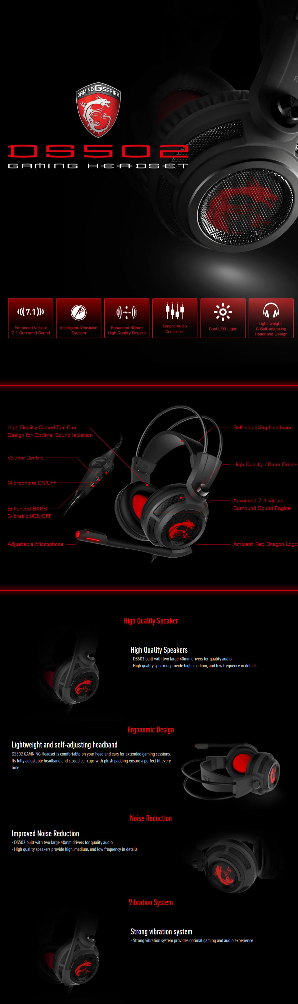 MSI DS502 Gaming Headset with Microphone Enhanced Virtual 7.1 Surround Sound