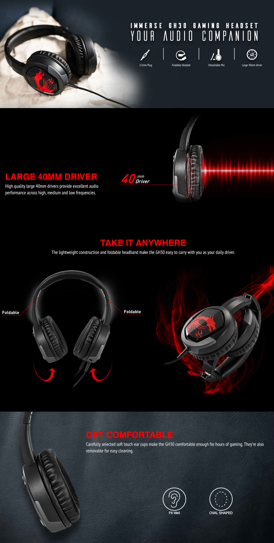 MSI Immerse GH30 Gaming Headset Foldable Headband with Detachable Microphone